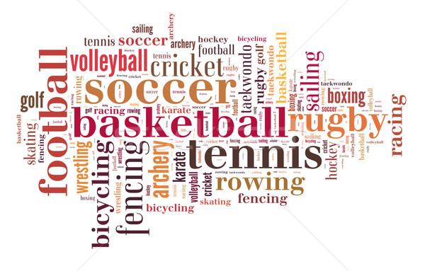 Deportes nube de palabras golf fútbol baloncesto naranja Foto stock © gsermek