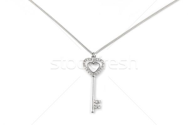 Silver key pendant necklace, Isolated on white  Stock photo © gsermek
