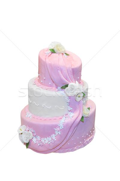 Elegant wedding cake isolated on white Stock photo © gsermek