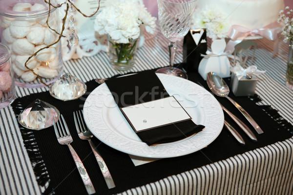 Stok fotoğraf: Lüks · akşam · yemeği · siyah · beyaz · plaka · düğün