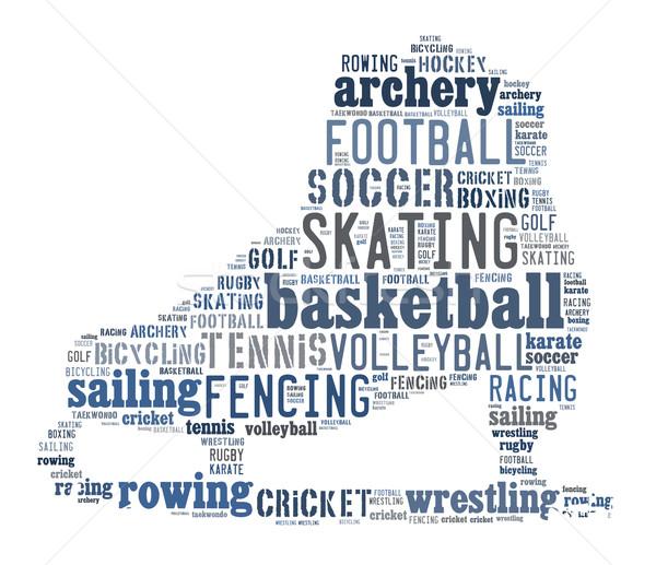 Sport woordwolk golf voetbal basketbal Blauw Stockfoto © gsermek