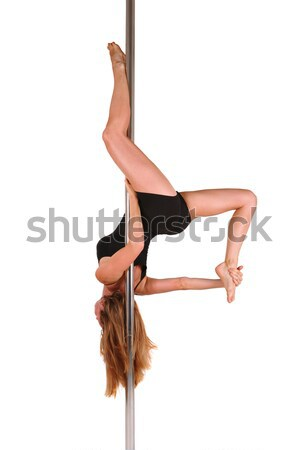 Young woman exercising pole dance fitness Stock photo © gsermek