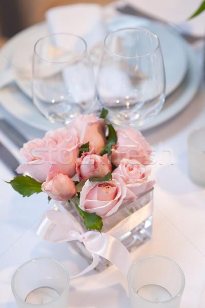 Stockfoto: Detail · bruiloft · diner · rozen · plaat · interieur