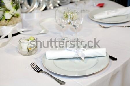 Elegante tabel bruiloft diner glas plaat Stockfoto © gsermek
