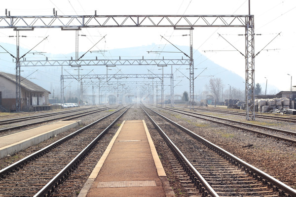 Treinstation weg gebouw landschap metaal reizen Stockfoto © gsermek