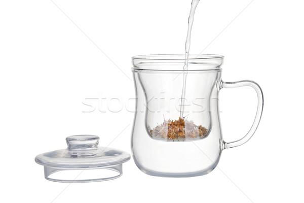 Préparation camomille thé eau chaude sécher Photo stock © gsermek