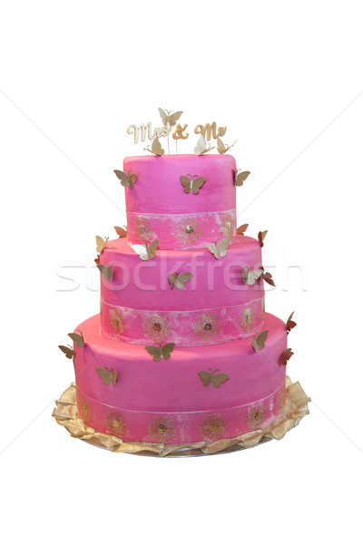 Pembe düğün pastası kelebekler yalıtılmış beyaz gıda Stok fotoğraf © gsermek