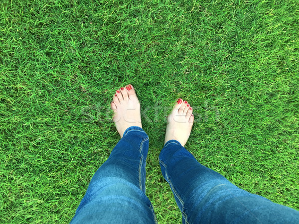 Barefoot selfie on the grass Stock photo © gsermek