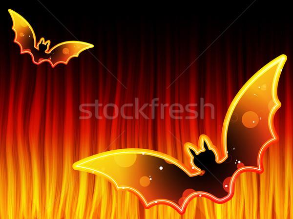Stok fotoğraf: Halloween · Alevler · vektör · doku · ışık · arka · plan