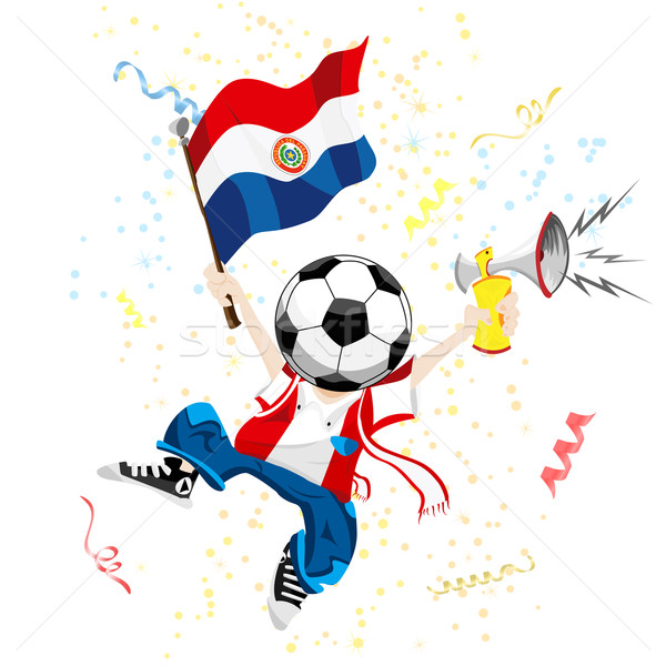 Paraguay Soccer Fan with Ball Head. Stock photo © gubh83