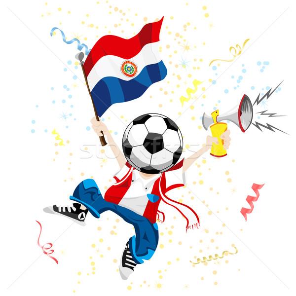 Paragwaj piłka nożna fan piłka głowie Zdjęcia stock © gubh83