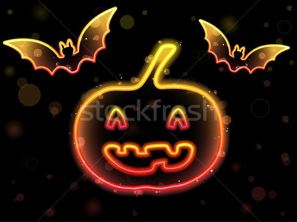 Stock foto: Halloween · neon · Kürbis · Vektor · glücklich · Disco