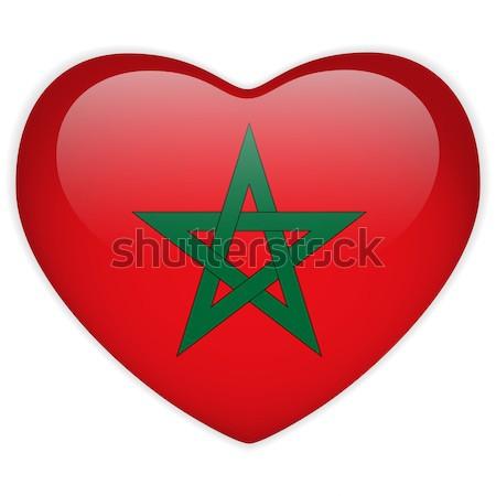 Marokkó zászló szív papír matrica vektor Stock fotó © gubh83