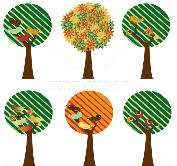 набор ретро деревья цветы птиц плодов Сток-фото © gubh83