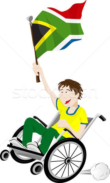 Dél-Afrika sport ventillátor rajongó tolószék zászló Stock fotó © gubh83