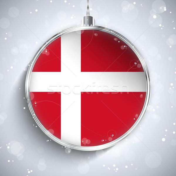Vidám karácsony ezüst labda zászló Dánia Stock fotó © gubh83