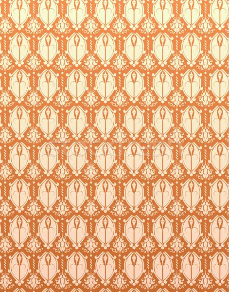 Seamless Pattern Orange Yellow Retro Damask Flower Background Stock photo © gubh83