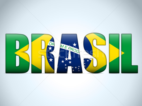 Brasil 2014 Letters with Brazilian Flag Stock photo © gubh83