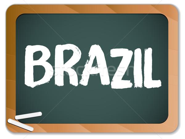 Green Chalk Blackboard Brazil Stock photo © gubh83