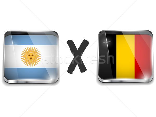 Arjantin Belçika bayrak futbol oyun vektör Stok fotoğraf © gubh83