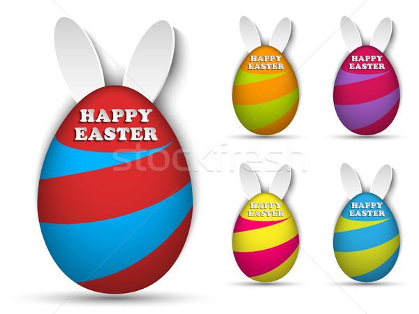 Happy Easter Rabbit Bunny Easter Egg Set Stock photo © gubh83