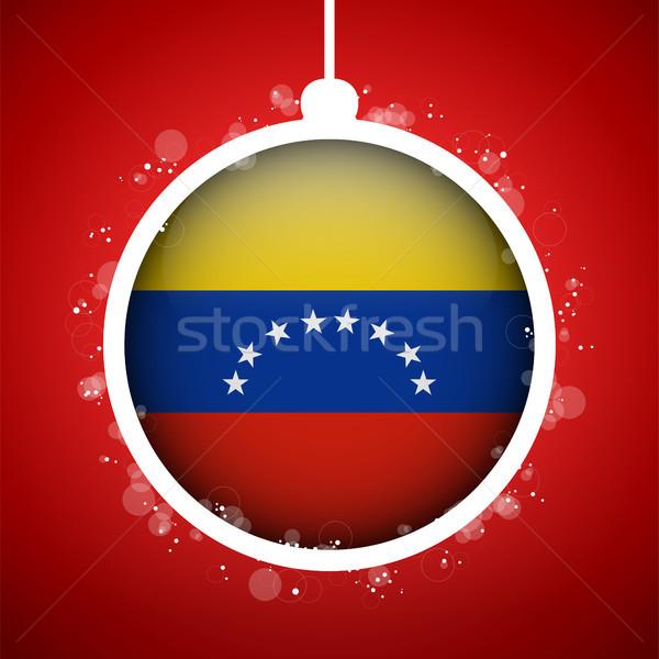 Vidám karácsony piros labda zászló Venezuela Stock fotó © gubh83