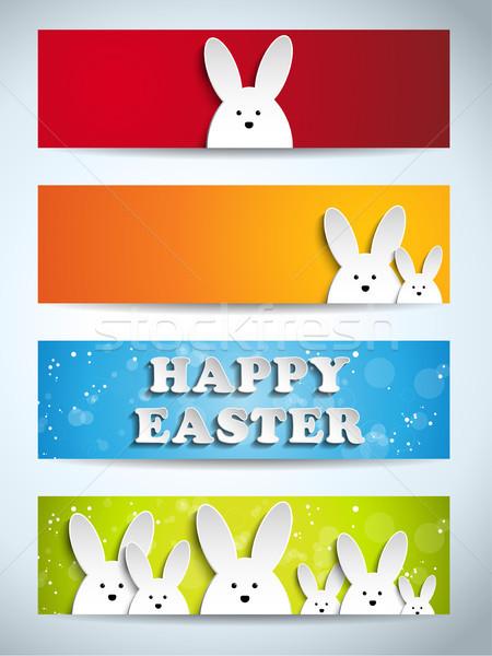 Happy Easter Rabbit Bunny Set of Banners Stock photo © gubh83