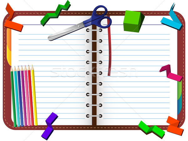 Organizer with pencils, scissors and paper pieces set Stock photo © gubh83