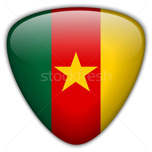 Camarões bandeira botão vetor vidro Foto stock © gubh83