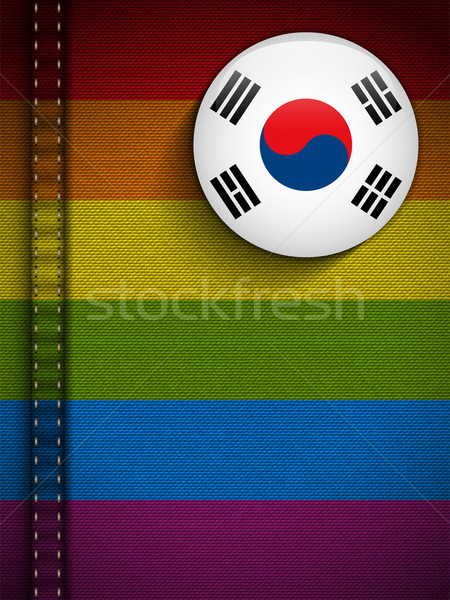 Gay Flag Button on Jeans Fabric Texture South Korea Stock photo © gubh83
