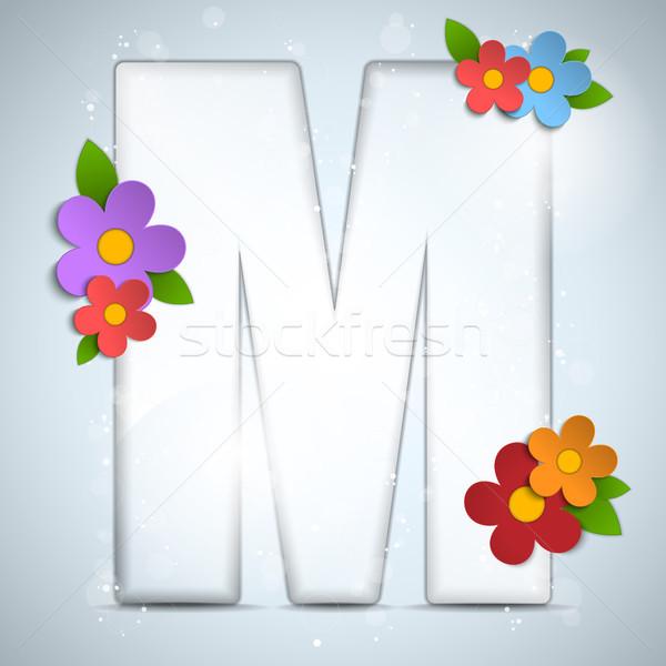 Alfabe cam bahar çiçekleri vektör kâğıt doğa Stok fotoğraf © gubh83