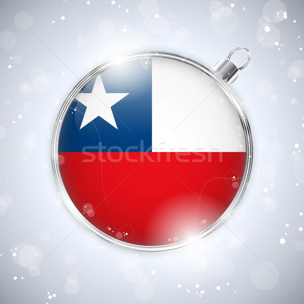 Stock fotó: Vidám · karácsony · ezüst · labda · zászló · Chile