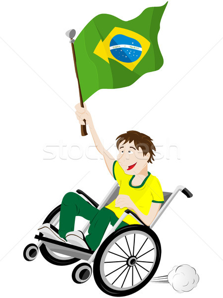 Brazil Sport Fan Supporter on Wheelchair with Flag Stock photo © gubh83