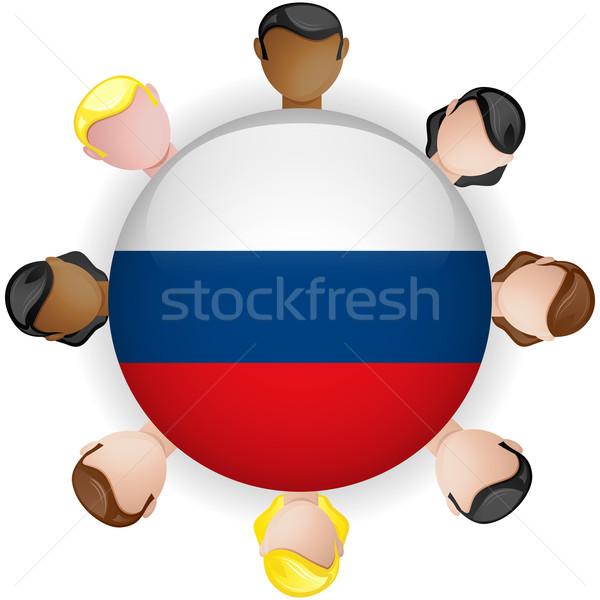 Rosja banderą przycisk zespołowej ludzi grupy Zdjęcia stock © gubh83