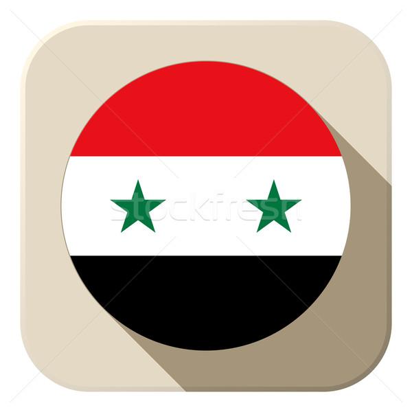 Síria bandeira botão ícone moderno vetor Foto stock © gubh83