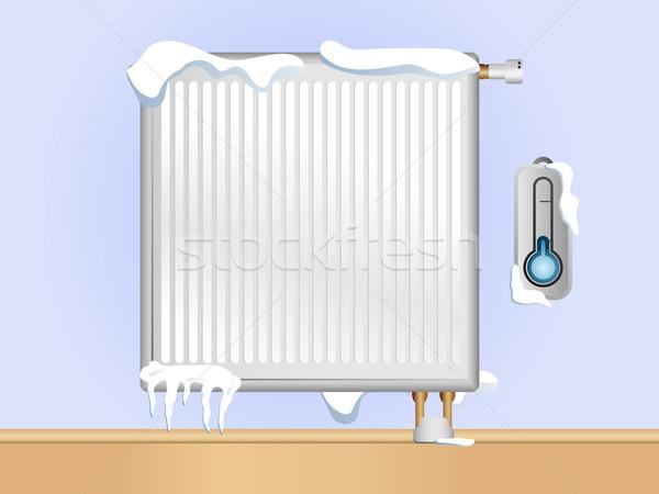Törött radiátor hó jég szerkeszthető vektor Stock fotó © gubh83