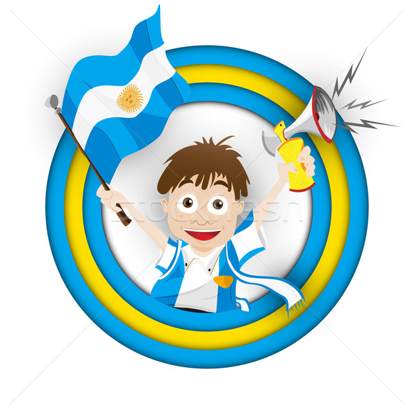Argentína futball ventillátor zászló rajz vektor Stock fotó © gubh83