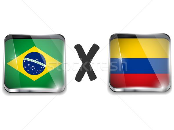 Brazília Colombia zászló futball játék vektor Stock fotó © gubh83