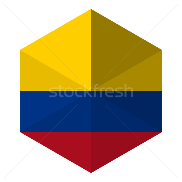 Colombia zászló hatszög ikon gomb világ Stock fotó © gubh83