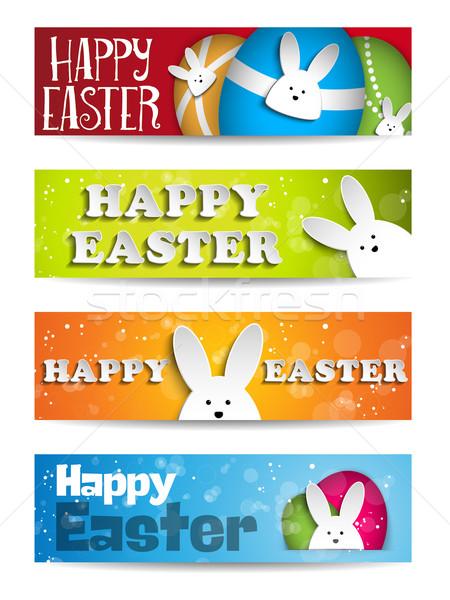 Wesołych Świąt królik bunny zestaw banery wektora Zdjęcia stock © gubh83