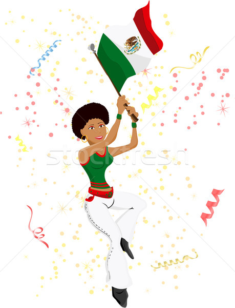 Stock photo: Black Girl Mexico Soccer Fan with flag.