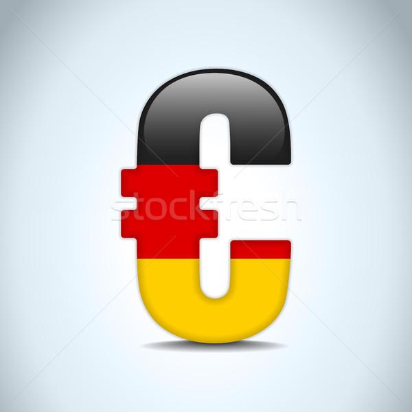 Stock fotó: Euro · szimbólum · Németország · zászló · vektor · pénz