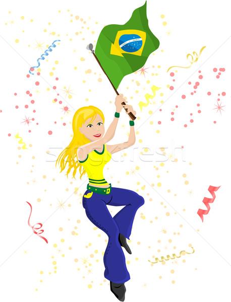 Brazilië voetbal fan vlag sexy Stockfoto © gubh83