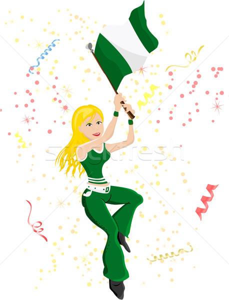 Nigéria futebol ventilador bandeira sensual Foto stock © gubh83
