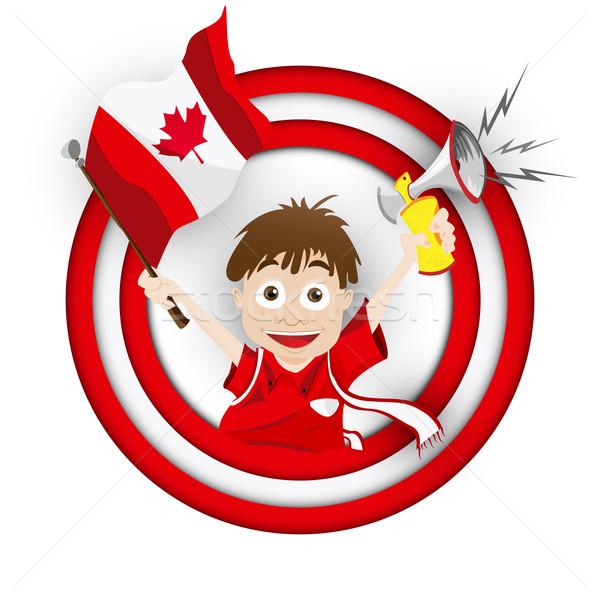 Canada voetbal fan vlag cartoon vector Stockfoto © gubh83