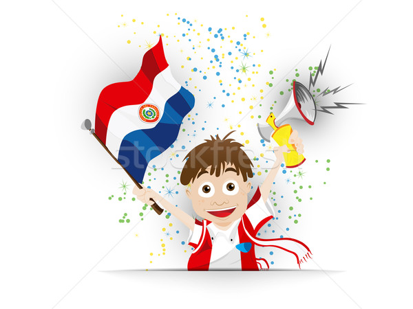 Paraguay calcio fan bandiera cartoon vettore Foto d'archivio © gubh83