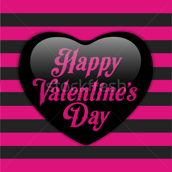 Glossy Emo Heart. Pink and Black Stripes Stock photo © gubh83