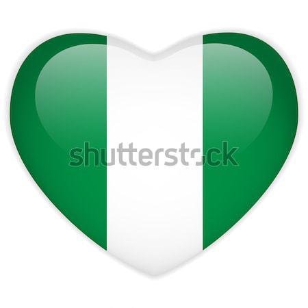 Nigéria bandeira coração botão vetor Foto stock © gubh83