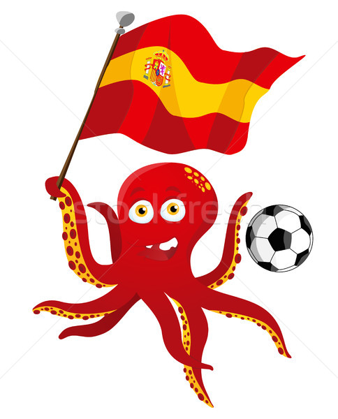 Octopus Soccer Player Holding Spain Flag. Stock photo © gubh83