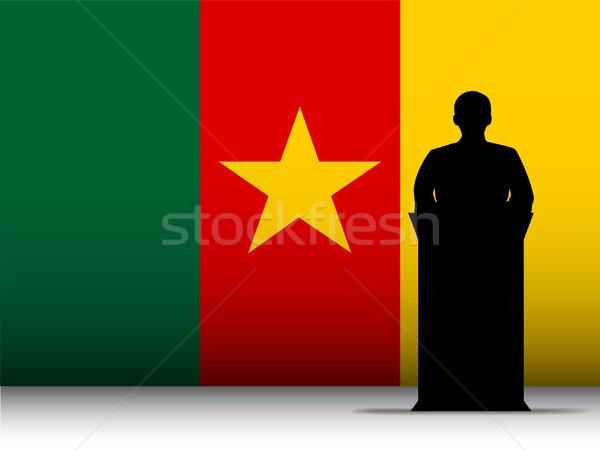 Kamerun mowy sylwetka banderą wektora człowiek Zdjęcia stock © gubh83